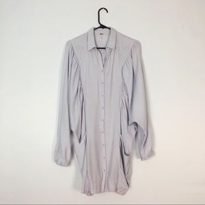 Free People Dresses - Free People Shirt Dress Ruched Purple White XS